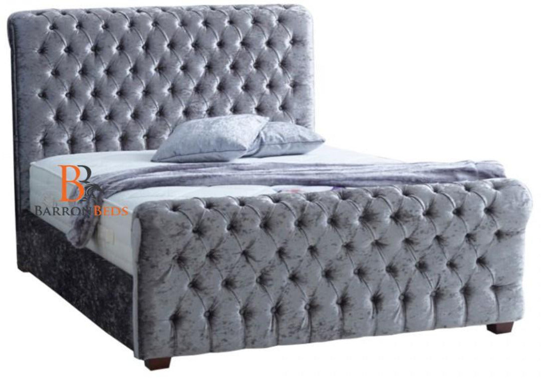 Arnold Studded Scroll Sleigh Bed Frame