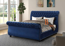 Eva Studded Swan Sleigh Bed Frame a Barronbeds Luxury Item