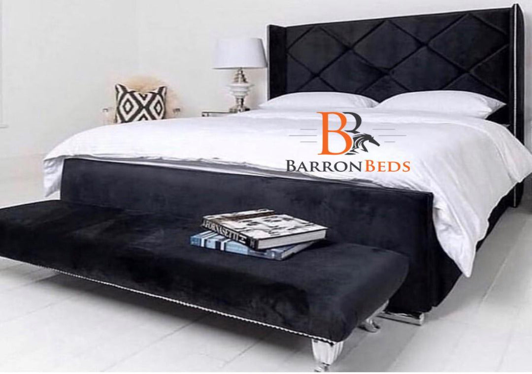 Malia Shimmer Wingback Bedframe Only at Barronbeds