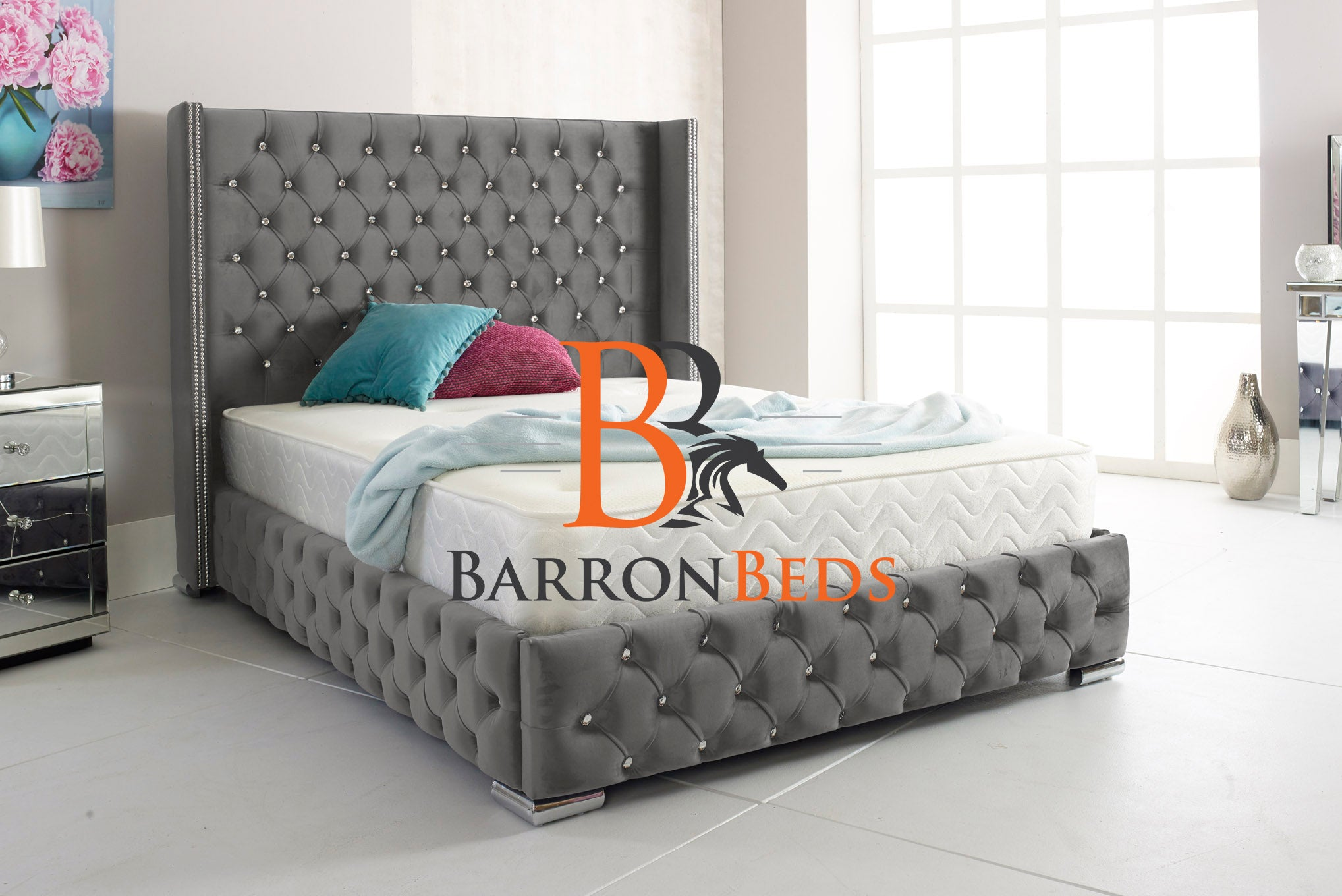 Plaza Chesterfield Wingback Bed Frame Part of the Barronbeds Bespoke Range