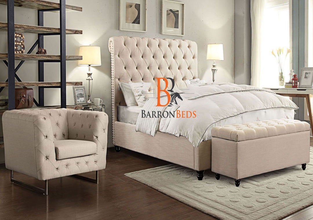 Penelope Stud Scroll Sleigh Bed Frame Only at Barronbeds