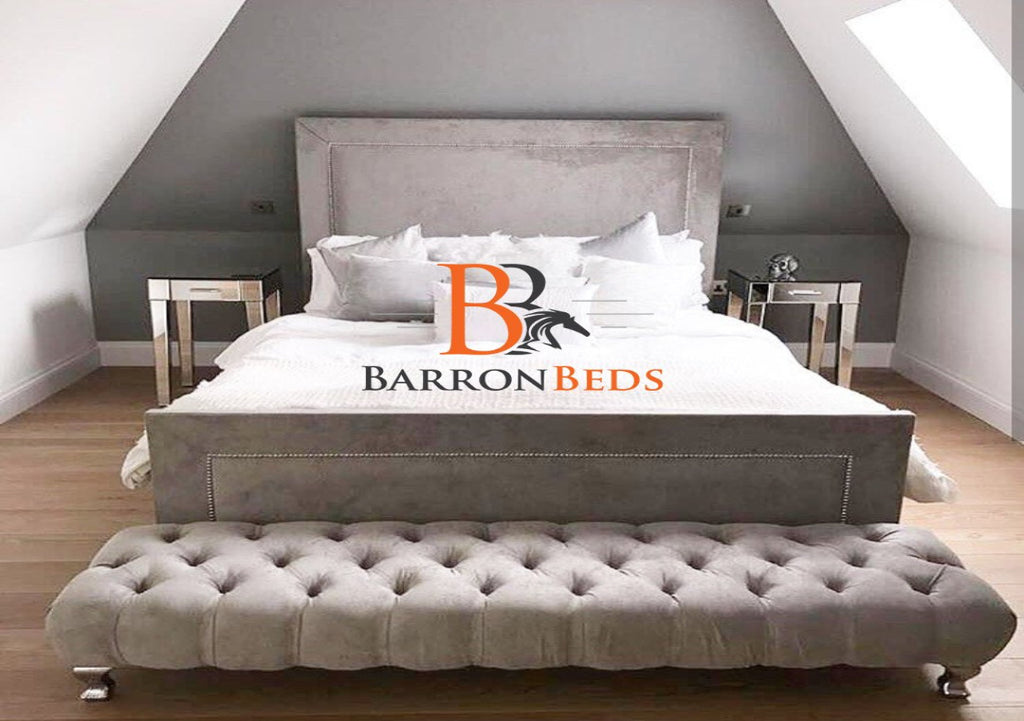 Milo Sleigh Bed with optional Footstool Part of the Barronbeds Bespoke Range