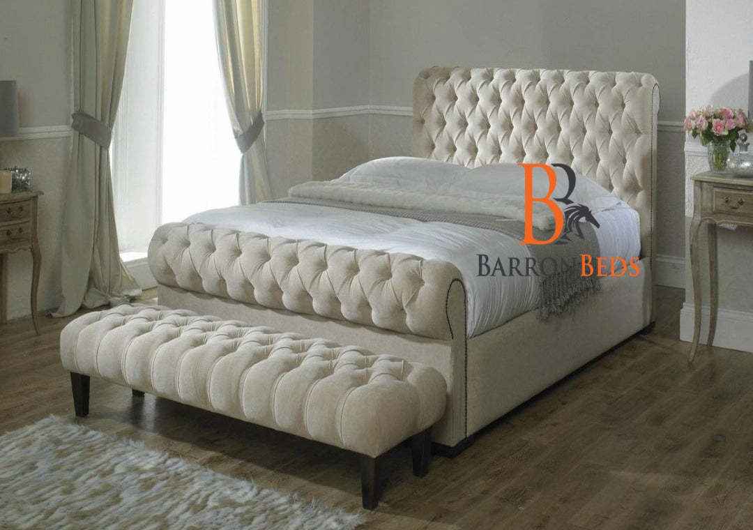 Archie Spanish Scroll Sleigh Bed Frame Only At Barronbeds