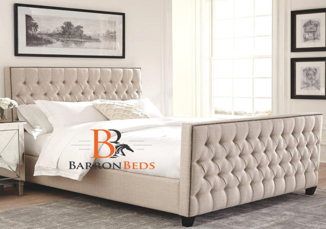 Leila Chesterfield Sleigh Bed Frame Only at Barronbeds