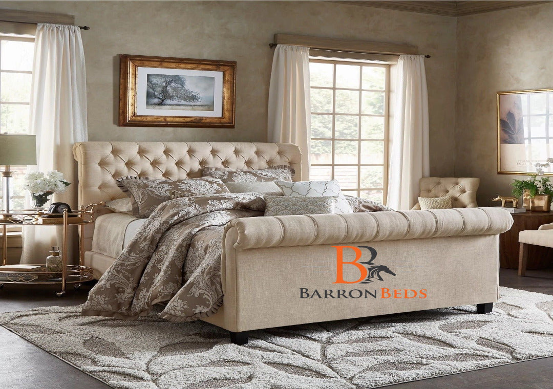 Evelyn Tufted Scroll Sleigh Bed Frame