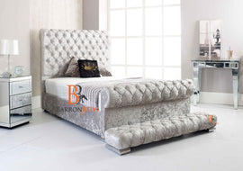 Maria Chesterfield Scroll Sleigh Bed Frame