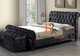 Ollie Chesterfield Scroll Sleigh Bed Frame