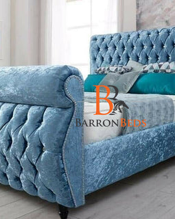 Zara Buttoned Swan Studded Bed Frame Only Available At Barronbeds