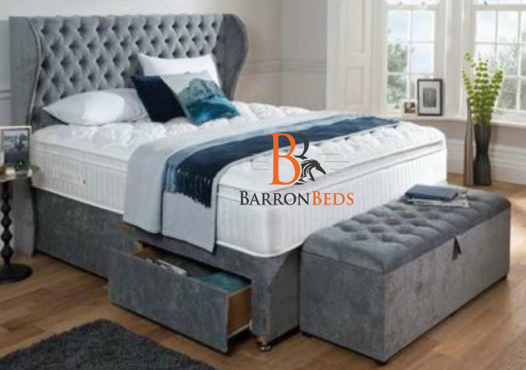 "Genelia Deluxe Divan Bed with 54"" Chesterfield Headboard"