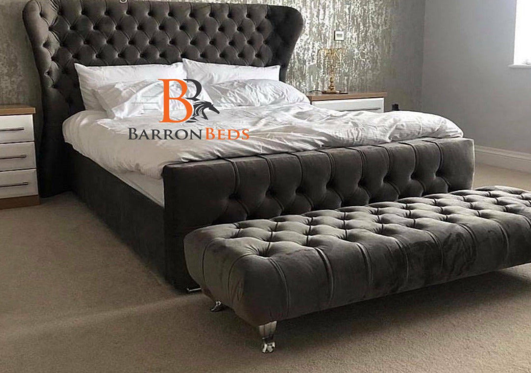 London Deluxe Wingback Bed Frame with optional Footstool