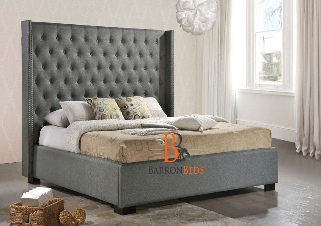 Hugo Grandeur Studded Wingback Bed Frame