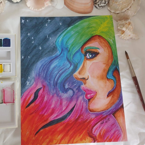 PRINT - Rainbow Hair Portrait
