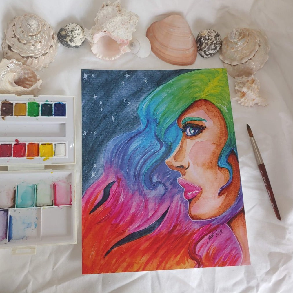 Large Print - Rainbow Hair Portrait