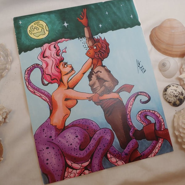 PRINT - Octo-maid and the Drowning Man