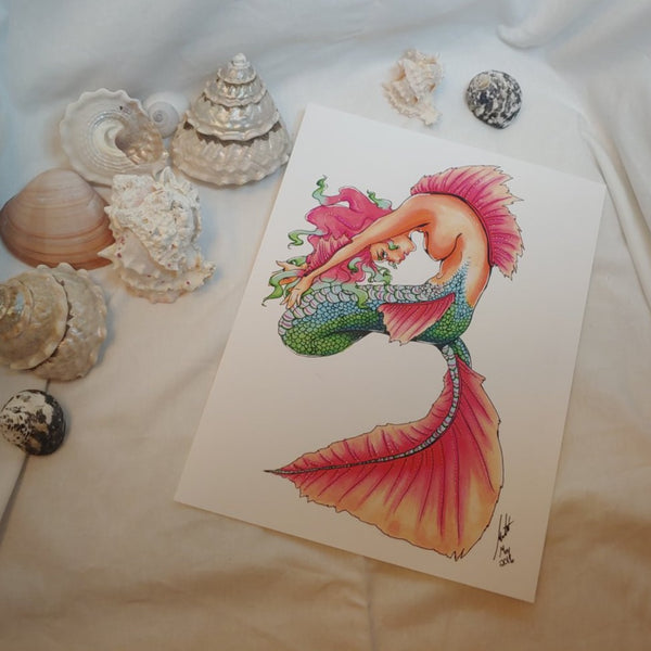 PRINT - Stretching Mermaid with Pink Fins