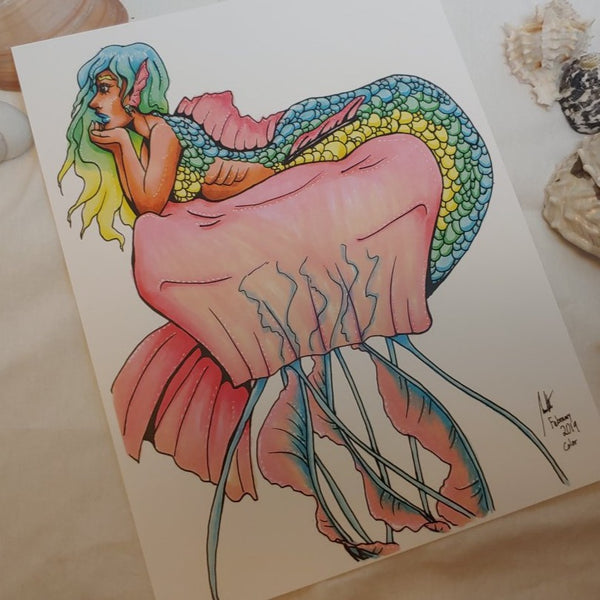 PRINT - Mermaid Relaxing on a Jellyfish