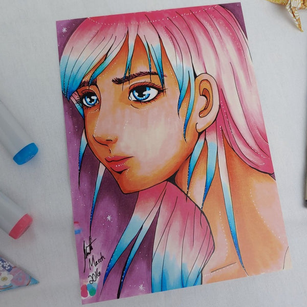 PRINT - Portrait of Cotton Candy Colored Hair