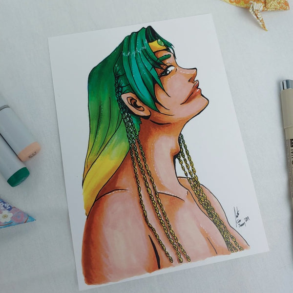 PRINT - Portrait of the Green Elven Prince