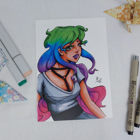 PRINT - Portrait of Rainbow Hair