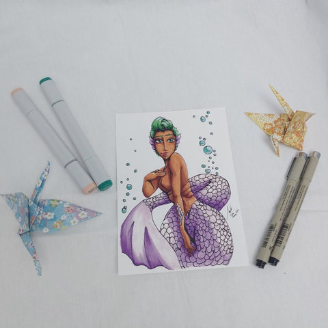 PRINT - Purple Tail Mermaid