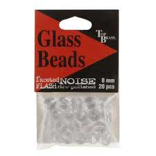 Top Brass Glass Beads 8mm 20ct Clear Flash