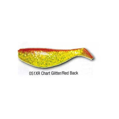"Luckie Strike Shad Minnow MC 5"" 50ct Chart Glitter-Red Black"