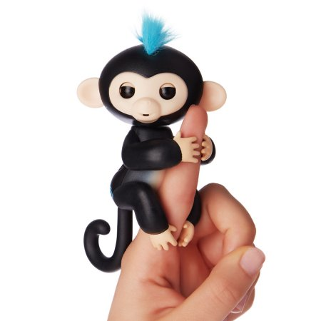 Fingerlings - Interactive Baby Monkey - Finn (Black with Blue Hair) By WowWee