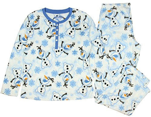 Disney Frozen Olaf Waffle Fleece Pajama Sleep Set