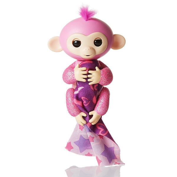 Fingerlings Glitter Monkey (Amazon Exclusive) - Rose (Pink Glitter + Bonus Blankie) - Interactive Baby Pet - By WowWee