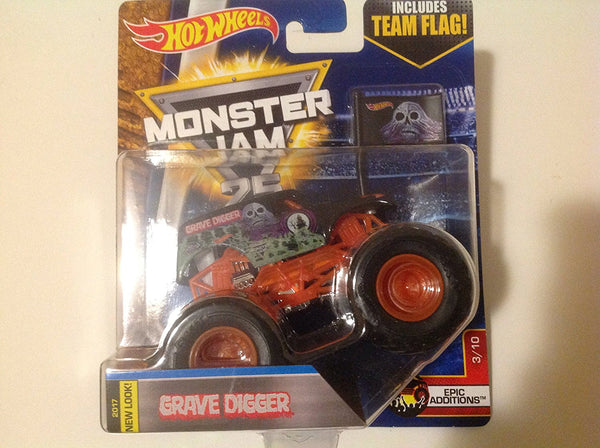 Hot Wheels 1:64 Monster Jam 2017 New Look Grave Digger Includes Team Flag