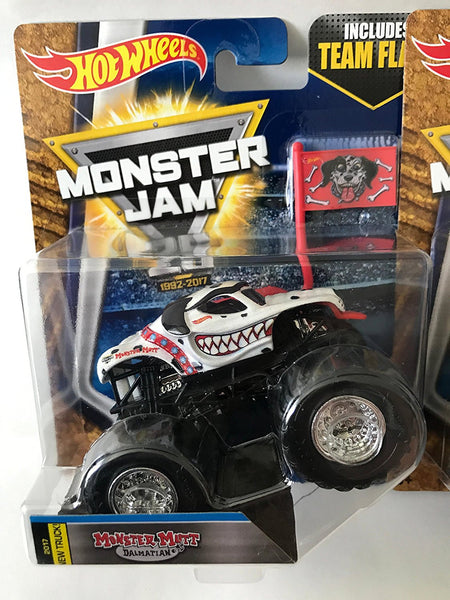 Hot Wheels Monster Mutt Dalmatian Truck (2017, New Truck - Team Flag Series Monster Jam Dog Pound)