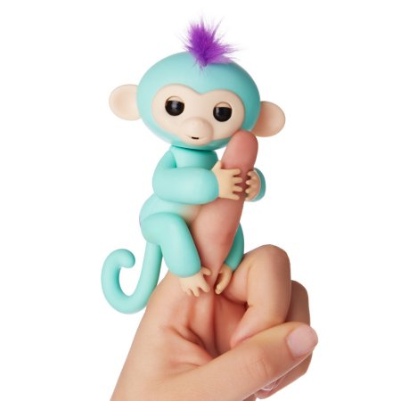 Fingerlings - Interactive Baby Monkey - Zoe (Turquoise with Purple Hair) By WowWee with Bonus Stand