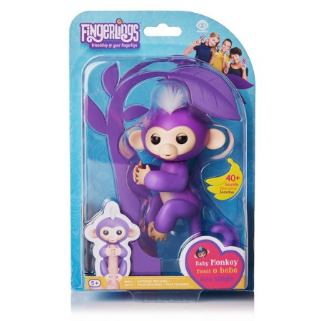 Fingerlings - Interactive Baby Monkey - Mia (Purple with White Hair) By WowWee with Bonus Stand