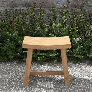 Teak stool curved top