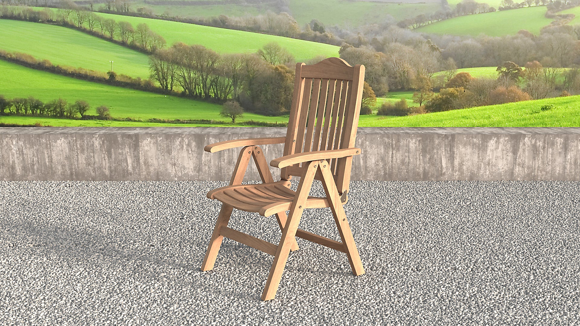 Lymington Teak reclining chairs side view