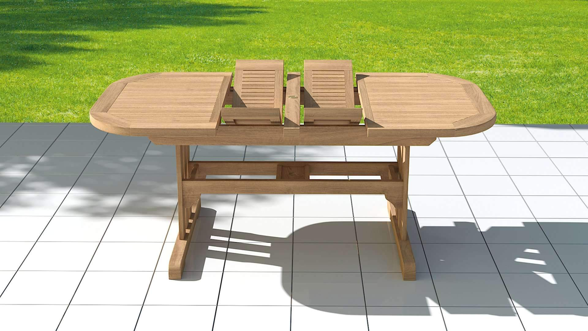 Garden Deluxe Extending 130-180cm (6-8 Seater) Dining Table & Chairs  - Chic Teak® | Luxury Teak Furniture