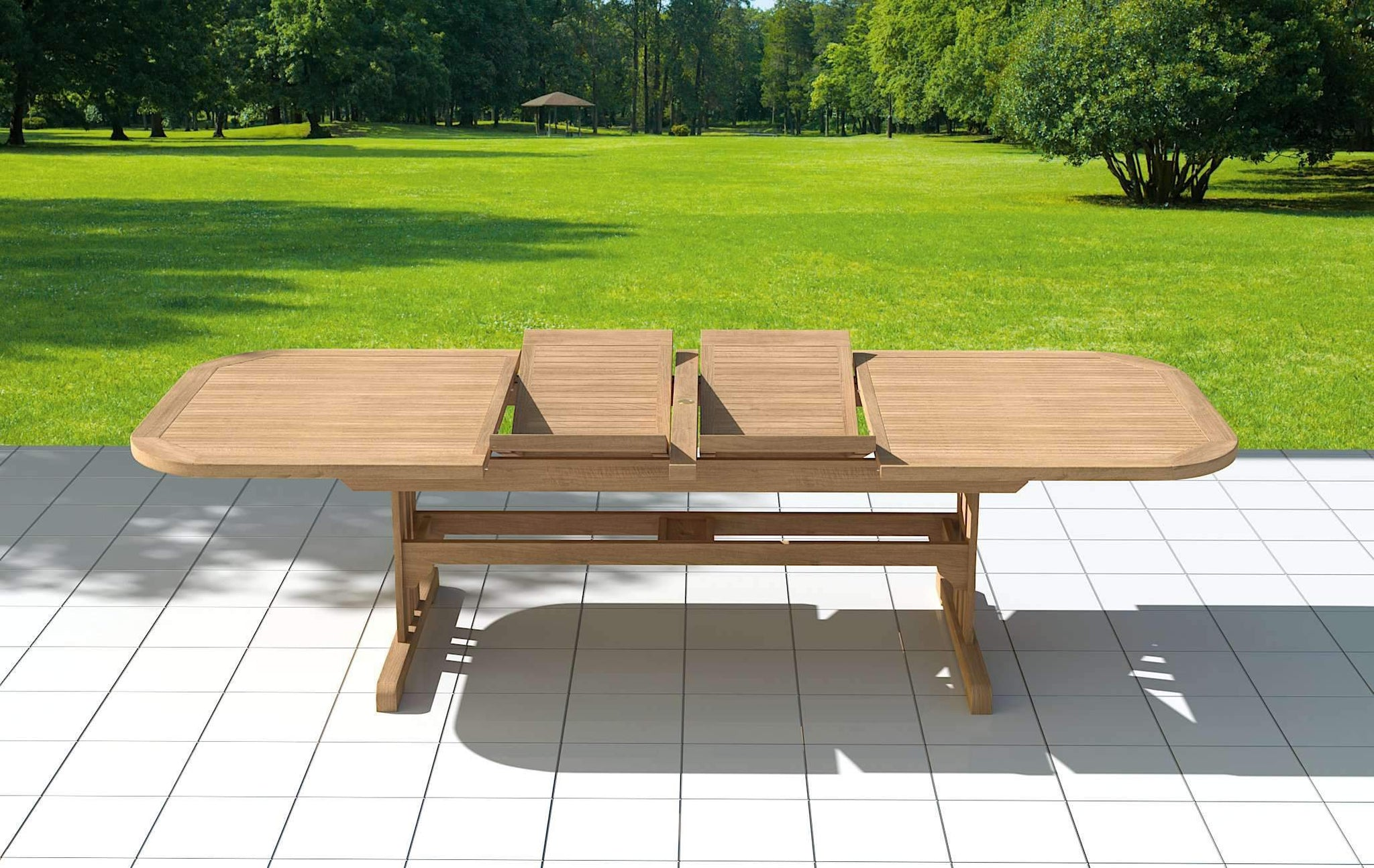 Garden Deluxe Extending 200-300cm (8 - 12 Seater) Teak Table & Chairs  - Chic Teak® | Luxury Teak Furniture