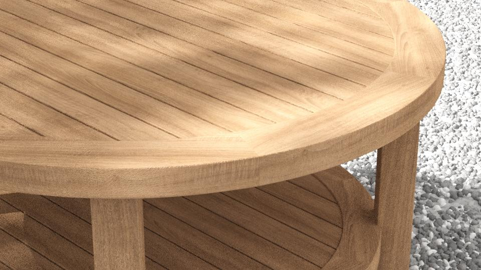 Round teak coffee table close up