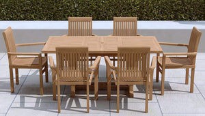 Garden Extending Dining Table & 6 Wells Chairs  - Chic Teak® | Luxury Teak Furniture
