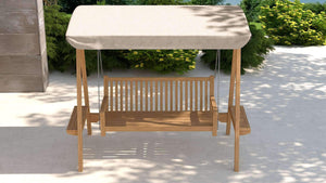 Teak Swing Seat - Natural Canopy  - Chic Teak® | Luxury Teak Furniture