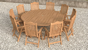Teak Round garden dining table and chair set