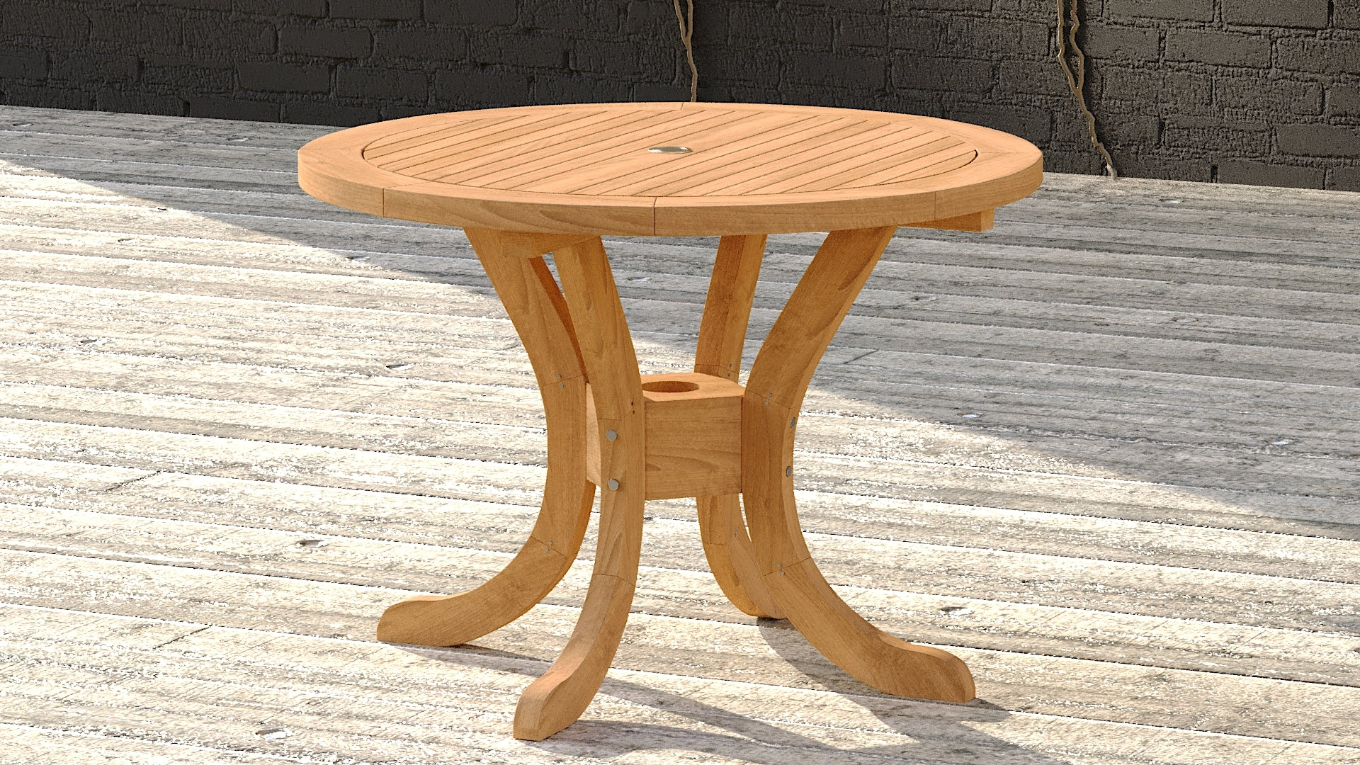 Round teak pedestal table