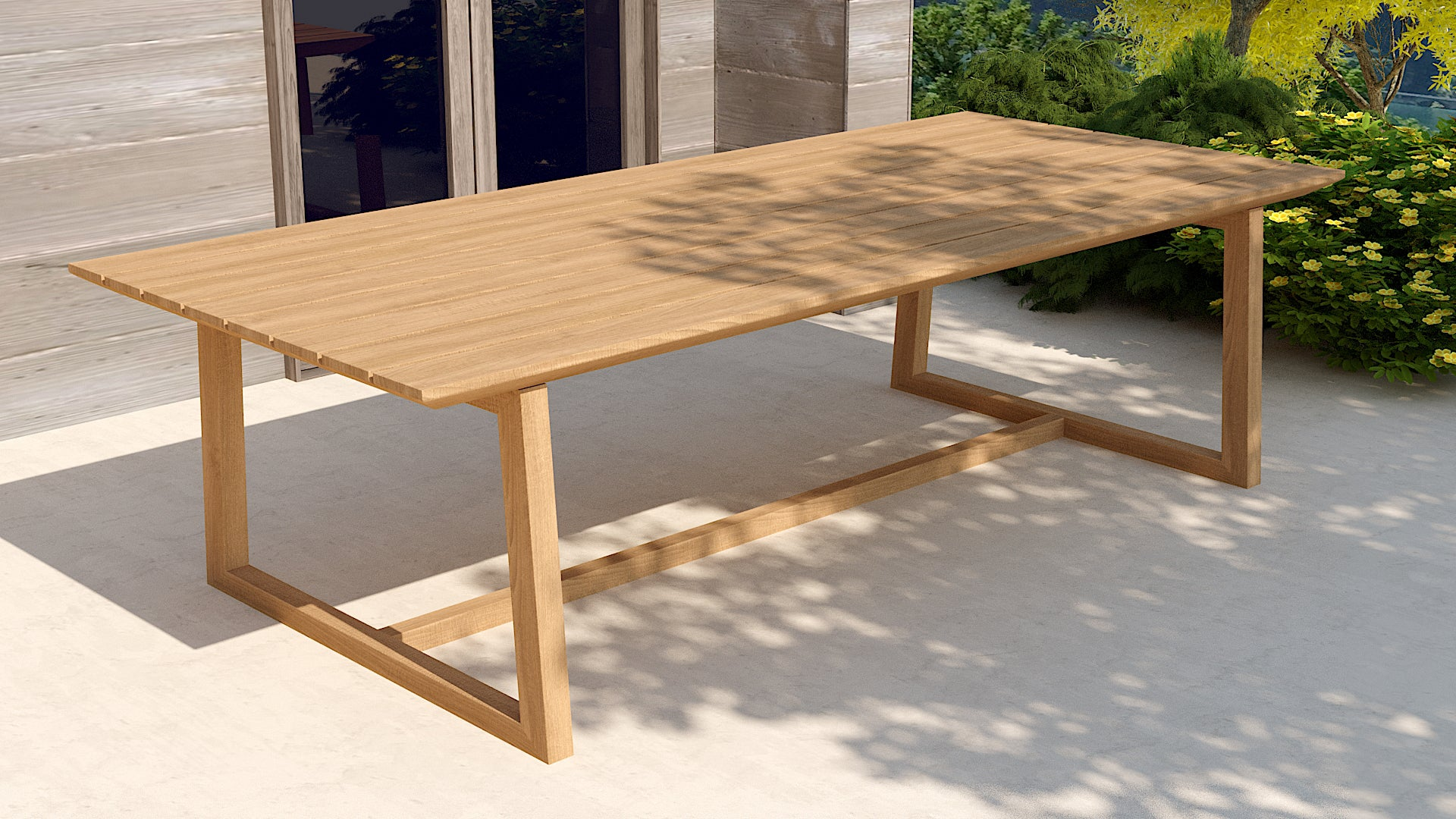 Belgravia teak rectangular table side view