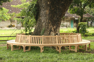 Circular teak tree bench - large