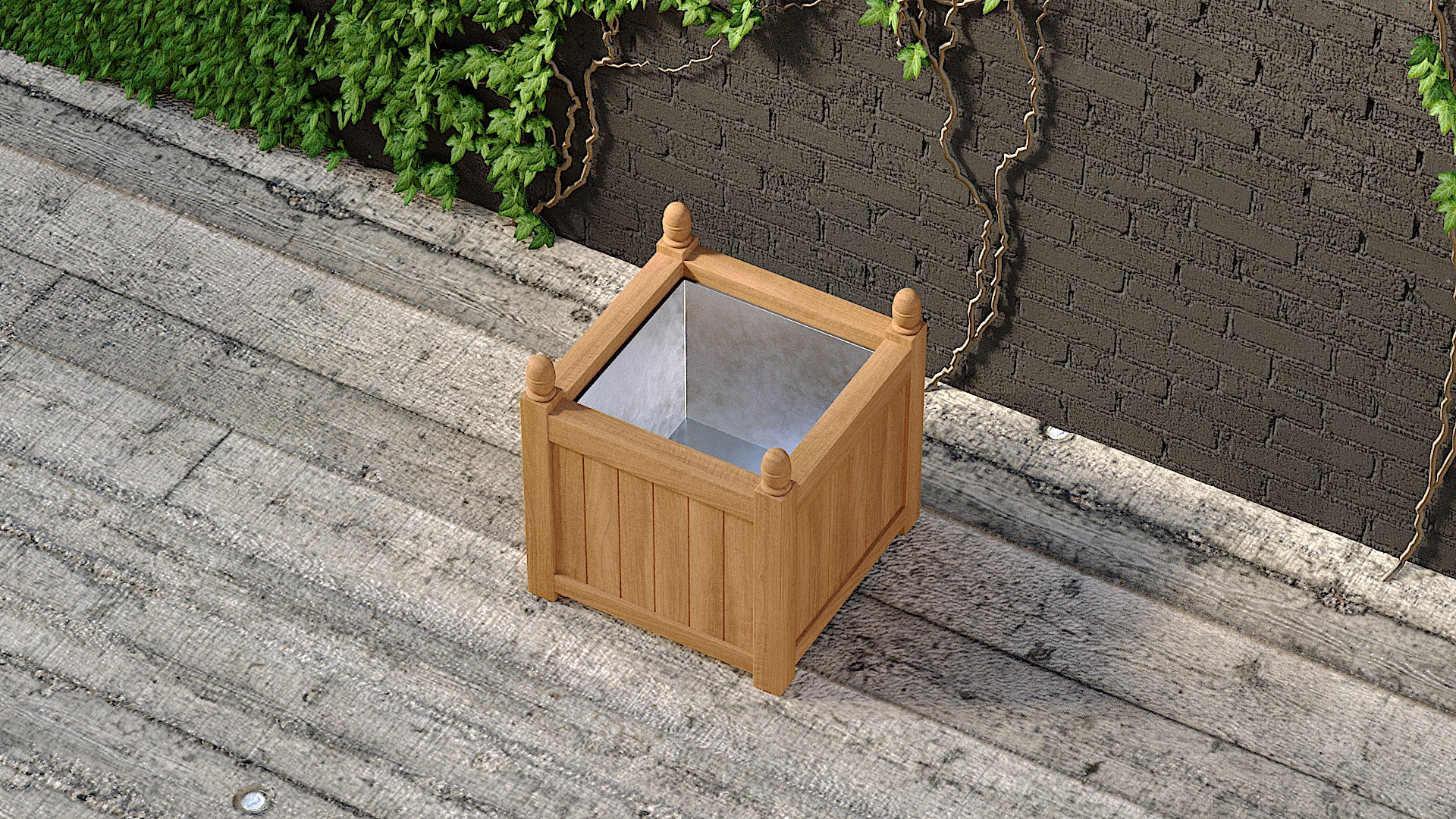 Teak planter square top view