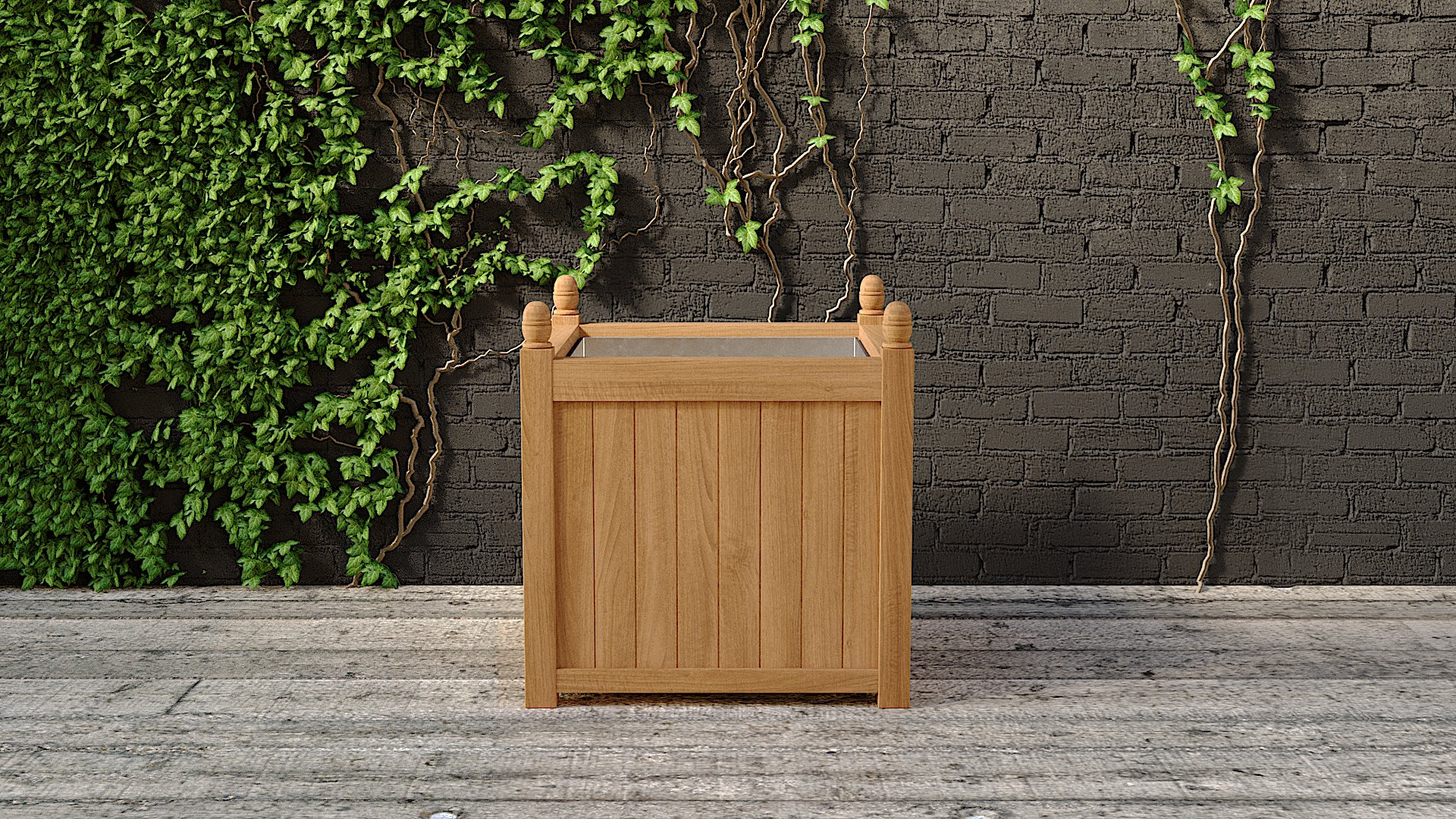 Teak planter rectangular medium front view