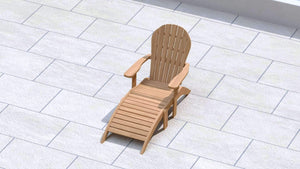 Adirondack Lounger with Footstool  - Chic Teak® | Luxury Teak Furniture