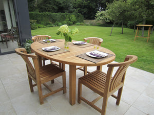 Teak Oval Garden Dining Table & 6 Winchester Chairs