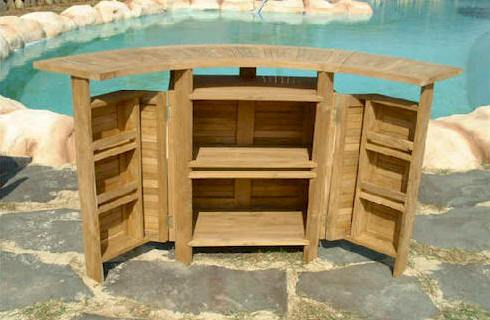 Teak folding bar pool side