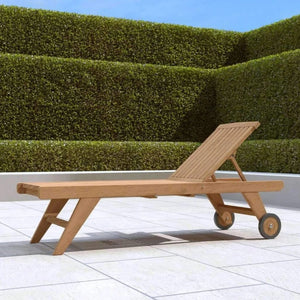 Teak Sun Lounger High Level with Wheels   - Chic Teak® | Luxury Teak Furniture